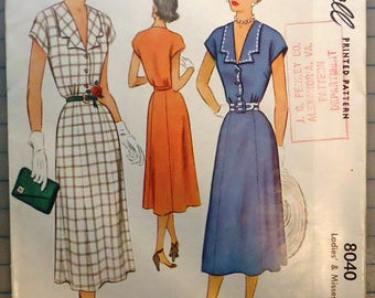 McCall #8040 - 1950s Sewing Pattern - Ladies One-Piece Dress