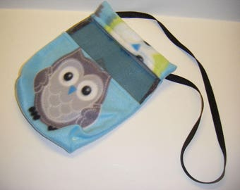 Sugar Glider, Bonding Pouch, Owl Fleece, Blue Fleece, Zipper Closure, Ventilation Screen, Small Animal Pouch