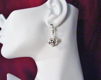 Sterling Silver rose flower earrings floral dangle drop chandelier design leverback  post stud womens fine jewelry