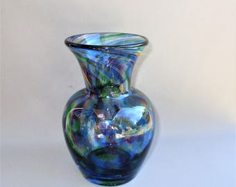 Hand Blown Art Glass Blue Multicolored Bud Vase.