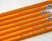 FACEBOOK SPECIAL ~ Free UK postage ~ Custom Pencils for Teacher ~ add any wording you'd like across five orange pencils