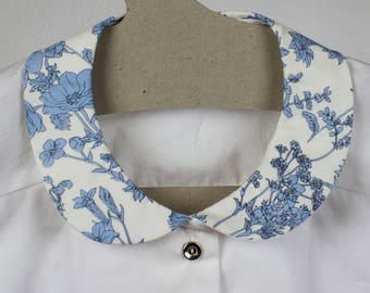 Blue floral collar, Cotton mock shirt, Peter pan shirt dickie, Handmade mock cotton button down shirt, Cute floral collar