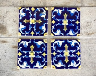 Four Vintage Mexican Ceramic Tiles, Rustic Home Decor, Blue Yellow Decor, Ceramics and Pottery, Talavera Tile, Bohemian Decor, Mexican Tile