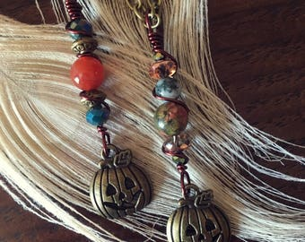 SALE! Fall Pumpkin Pendant Long Necklace
