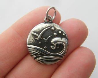 BULK 5 Wave sea seagull charms dark silver tone SC88