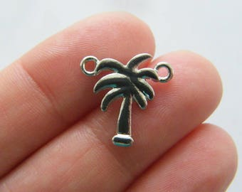 BULK 30 Palm tree connector charms silver tone T94