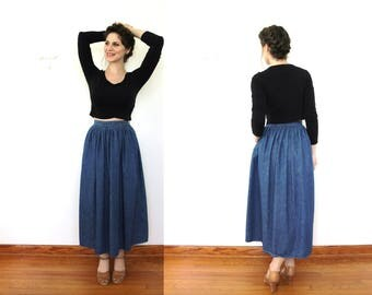 1970s 80s Denim Skirt / 80s 70s Denim High Waisted Full Midi Skirt