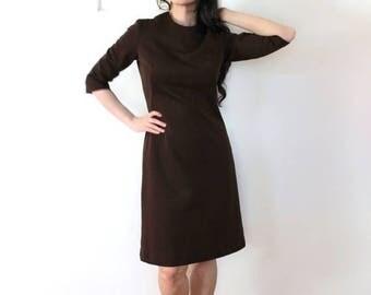 ON SALE 1960s Brown Dress / Brown 60s 70s Secretary Shift Dress