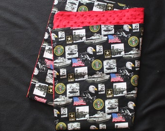 Army fabric and Red minky---+ custom sewing of the fabrics for a blanket