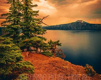 Fine Art Print - Crater Lake National Park - Oregon scenic photography - national park images - sunset art - wall art - home decor photo art