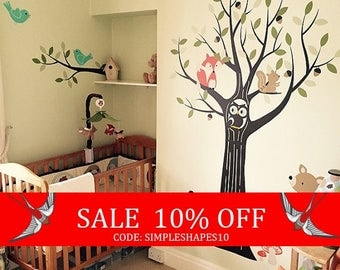 Summer Sale - Woodland Nursery, Wall Decals Nursery, Tree Wall Decal, Nursery Decor, Owl Nursery Decor, Tree Wall Decal, Baby Nursery Wall