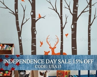 Independence Day Sale - Birch Tree Wall decal with Deer and Bird Wall Decals Sticker Set W1116