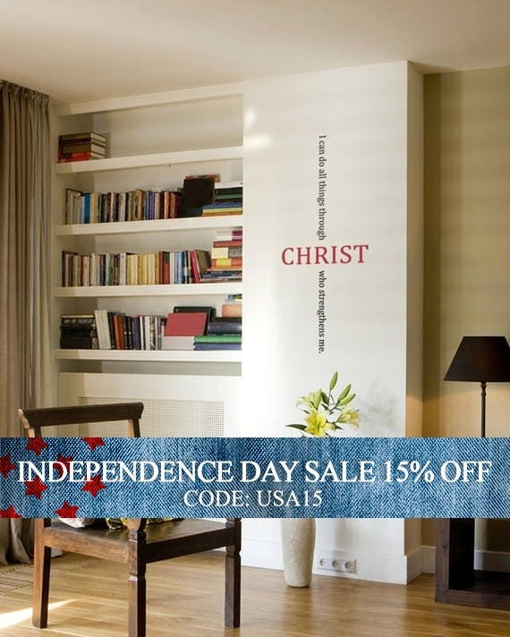 Independence Day Sale - Christ Bible Quote Decal - Vinyl Wall Sticker