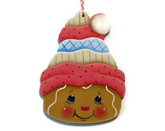 Gingerbread In Stocking Cap Ornament, Handpainted Wood, Hand Painted Ginger Christmas Ornament, Tole Decorative Painting