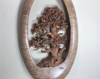 Oak Tree Wood carving wall hanging wood home wall decor best gift