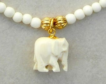 Child's Elephant Necklace, Cute Bone Elephant, Bone and Gold-Plated Beads, by SandraDesigns