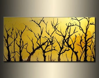 Original Landscape Trees Abstract Painting Modern Contemporary Fine Art by Henry Parsinia Large 48x24