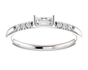 14kt Diamond Baguette Engagement Ring, Baguette Stacking Ring, April Birthstone, Unique Engagement Ring