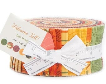 "ON SALE Welcome Fall Jelly Roll by Deb Strain for Moda Fabrics 19770JR 40 2.5"" x 42"" Fabric Strips"