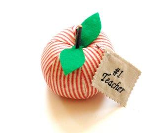 Apple for the teacher, apple sculpture, stuffed fabric apple, red ticking fabric, teachers desk, teacher gift, personalized, classroom decor