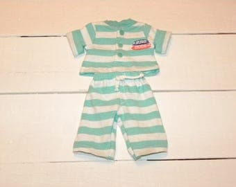Striped Turquoise and White Pants and Top - 12 inch boy doll clothes