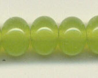 9mm, Tom's lampwork transparent chartreuse 11 spacers bead set 95772