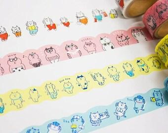 """New-Japanese Die-Cut Washi Masking Tape / 18mm Cat """"gorogoro nyansuke"""" for journaling, scrapbooking, packaging, party deco, card making"""