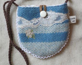 little girl's purse, bag, blue,white,cream,stripes, reclaimed wool and leather,flowers,vintage trims, lace