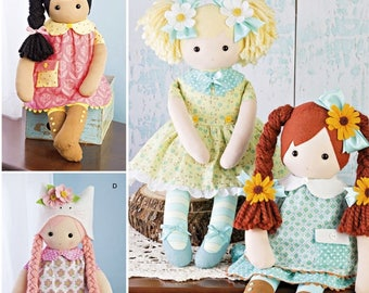Hand Made Doll Pattern, 23 inch Rag Doll and Clothes Pattern, Craft Sewing Pattern, Simplicity Sewing Pattern 8402
