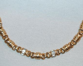 Vintage / Bracelet  / Rhinestone / Gold Tone / Baguettes / old jewellery / jewelry