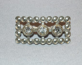 Antique Victorian C Clasp Brooch / Sparkling Clear Rhinestone / Silver Tone / Vintage / Old jewelry