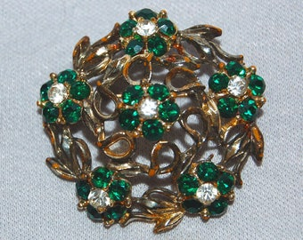 Large Rhinestone Brooch, Emerald Green Gold, Vintage old jewelry