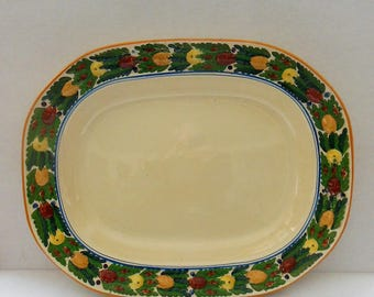 Adams Platter Titian Ware, Della Robbia  Multicolor Fruit,  Hand Painted,17 x 13.5. Display or Use