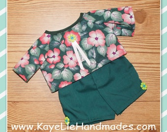 Cabbage Patch Doll Clothes - Top and Shorts - Dark Green with Pink Flowers