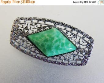 ON SALE Vintage 1930's Art Deco Rhodium Plated Green Peking Glass Brooch