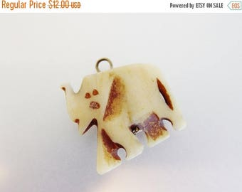 ON SALE Vintage Carved Bone Elephant Pendant Charm