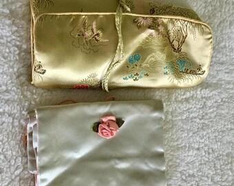 Vintage Satin Jewelry Rolls/ Jewelry Pouch/ Jewelry Storage/ Travel Accessory/ Jewelry Organizer/Estate Find/ Lot of 2