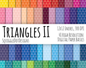 Diamond Pattern Digital Printable Background Paper Kit for Web Design, Crafts, and Scrapbooking Set of 48 - Triangles II - Basics