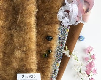German mohair fabric, glass eyes, cotton batiste fabric liberty of london tana lawn, silk ribbon french lace, supplies for teddy, set #25