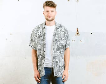 Men Summer Shirt . Vintage 90s Pattern Shirt Black and White Abstract Print Shirt Button Down Short Sleeve Shirt . size Large