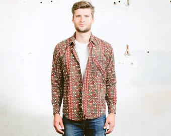 Men Aztec Shirt . Vintage 90s Cotton Shirt 90s Grunge Shirt Red Long Sleeve Boyfriend Shirt . size Medium