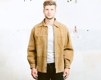 Mens Suede JACKET . Brown Suede Leather Jacket Rockabilly Vintage 80s Retro Hipster Coat Outerwear Bomber Jacket . size Small