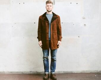 Suede Sheepskin Coat . Mens Vintage 70s Faux Sherpa Coat Winter SUEDE Leather Brown Jacket Overcoat Outerwear Long Jacket . size Large