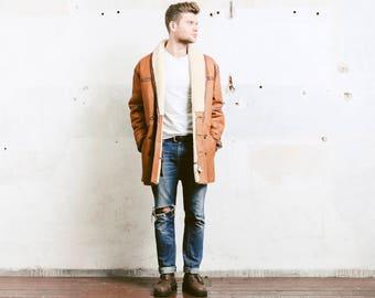 Mens Sheepskin Coat . Vintage 90s Sherpa Coat Jacket Winter Leather Brown Overcoat Outerwear Long Jacket . size Large