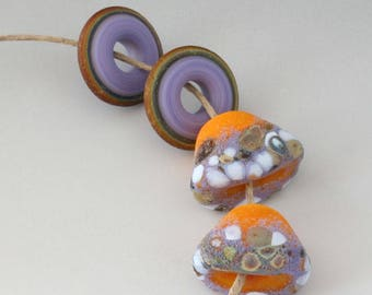 Rustic Squished Cone Pair - (4) Handmade Lampwork Beads -  Yellow Orange, Lavender