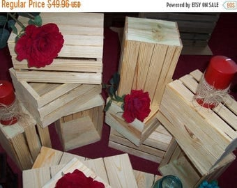 2 DAY SALE ONLY Wood Crates rustic 5 wedding reception centerpiece planter reclaimed wooden mason jar vases barn country wedding decorations