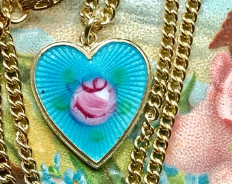 Guilloche necklace,Vintage Sarah Coventry necklace,Signed Sarah coventry necklace,Necklace Enamel Heart Charm #1457