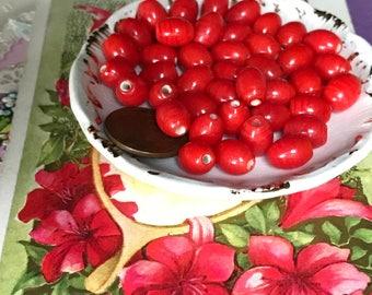 Goji Berries beads, Vintage Glass beads, Goji earrings, Goji berries, Red beads, Berry Beads, Minimalist, vintagerosefindings, 7x9mm #B100B