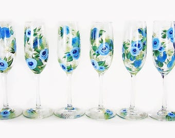 Bridesmaid's Hand-Painted Champagne Glasses or StemLESS Flutes 6 x - Blue Watercolor Roses - Summer Bachelorette Party Gifts