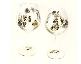 Set of 2 CRYSTAL Hand Painted 50th Anniversary Glasses - Gold and Black Roses - Balloon Glasses 50th 25th Anniversary Gift Ideas